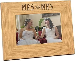 Engraved Mrs and Mrs Wedding Photo Frame - Mrs and Mrs Gift - Mrs and Mrs Lesbian Wedding Gift - Gay Wedding Gift for Mrs and Mrs