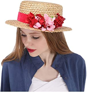 SHENTIANWEI Straw Sun hat with red Flowers Straw Boater hat Kentucky Derby hat, red Flower hat, Flower Races hat red, Floral Church Hats, Wide Brim hat