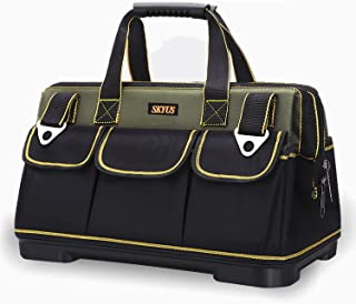 SKYUS 20 inch waterproof molded base tool bag, wide mouth tool tote bag, waterproof and scratch-proof tool finish bag, adj...