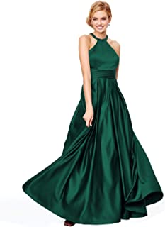 Women's Halter Prom Dresses with Pockets Long Satin Crystal Evening Formal Gown O38PM