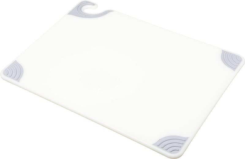 San Jamar CBG152012 Saf T Grip Co Polymer Standard Size Cutting Board 20 Length X 15 Width X 1 2 Thick White