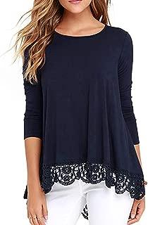 Women's Casual Crochet Hem Tunic Tops Long Sleeve T-Shirt Blouse