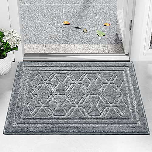 Felpudo Entrada Casa 50 x 80 cm Alfombra para Puertal Felpudos Atrapar Suciedad Interior y Exterior Alfombras Lavable Absorbente Gris Claro