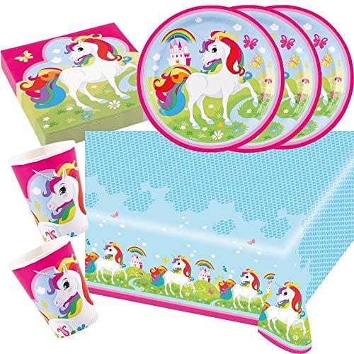 37-piezas juego de partido Unicornio (Amscan) - unicornio - Plato Vaso Servilletas Mantel para 8 Niños