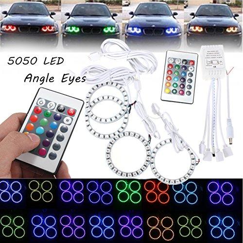 MASUNN RGB 70mm Multi-Color 5050 Flash LED SMD 12V Angel Eyes + télécommande
