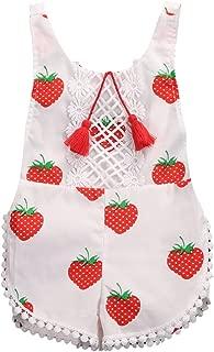 Newborn Baby Girls Sleeveless Tassels Strawberry Print Backless Bodysuit