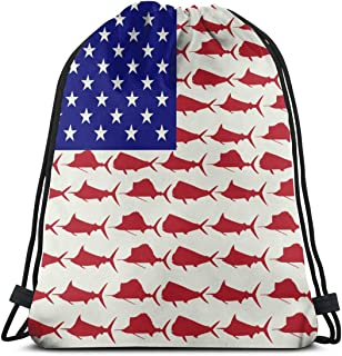 Unisex Drawstring Bag Marlin Sailfish Dolphin USA Flag Backpack Sports Gym School Bag