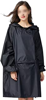 Woman Raincoat Polyester Outdoors Thick Rain Poncho Hooded Impermeable Rainwear Rain Coat with Front Pockets