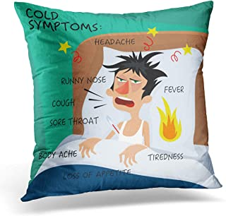 Emvency Throw Pillow Covers Case Cold Symptoms in Flat with Man Who Feel Feverish Chills Cough Sore Throat Cartoon Character Influenza Flu Decorative Pillowcase Cushion Cover 18 x 18 Inches