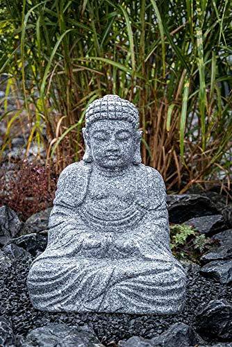 IDYL Granit-Stein Figur Buddha - Frostfest - Höhe 60 cm - Grau - Asiatische Garten-Dekoration | Nr. 033-3