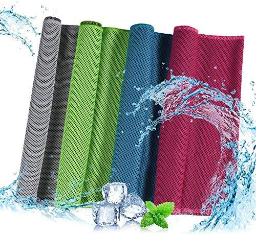 ZHOUYANG Paquete de 4 Toallas calefactoras Toalla Fitness con un Toque Fresco y enfriamiento inmediato. Bufanda refrescante como Envoltura refrescante para el Cuello. Entrenamiento Deportivo Femenino