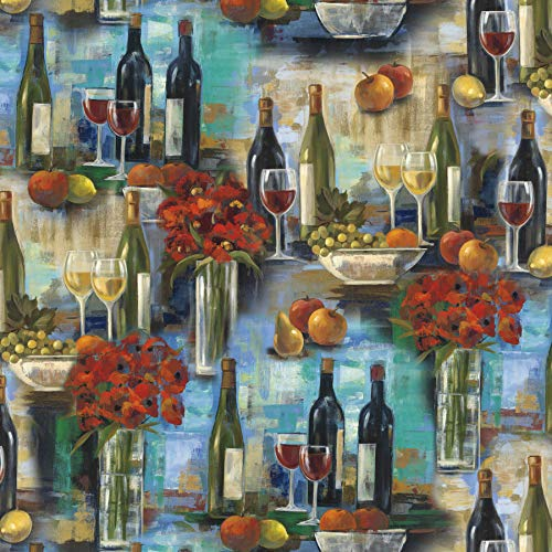 Wine Tasting Bouquet Cotton Fabric by The Yard, Precut 1 Yard Pieces