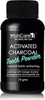 WishCare® Coconut Shell Activated Charcoal Tooth Powder | 100% Natural Teeth Whitening | 70 Grams | Enamel Safe Teeth Whitener | Minty Fresh