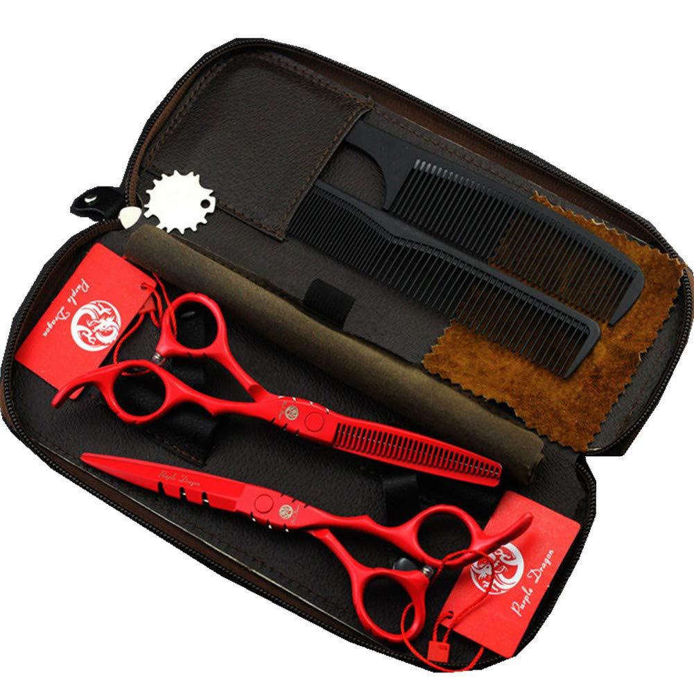 2 Tijeras de 5.5 peluquería Profesional Purple Dragon rojas