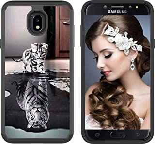 CASE4YOU Bumper Case for Samsung Galaxy J7 2018, Galaxy J7 Refine/ J7V/ J7 Star/ J7 Top/ J7 Aura/ J7 Aero/ J7 Crown/ J7 Eon, High Impact Cover Shockproof Dual Layer Defender Cute Tiger Cat Back Cover
