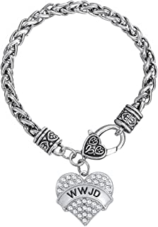 My Shape Silver Plated Heart Clear Crystal Word WWJD Lobster Claw Bracelet What Would Jesus Do Faith Jewelry for Women