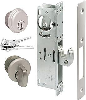 """Pacific Doorware Storefront Door Mortise Lock Hook Deadbolt & Cylinder Combo, Adams Rite Cam, in Aluminum (1-1/8"""" Backset)"""