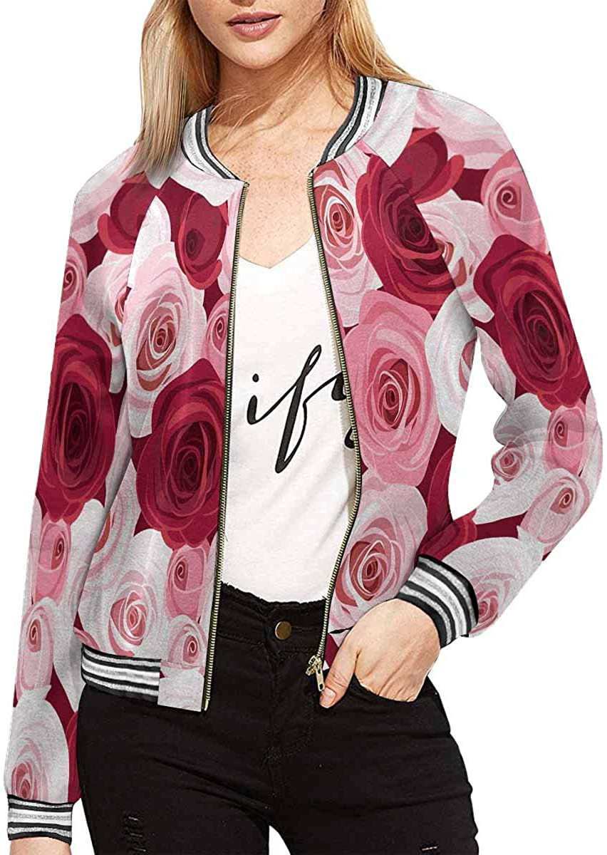 INTERESTPRINT Women's Red and Pink Roses Coat Deluxe Jacket Zipper Now on sale Outw