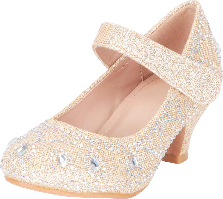 Cambridge Select Girls' Mary Jane Glitter Crystal Rhinestone Low Heel Pump (Toddler Little Kid Big Kid)