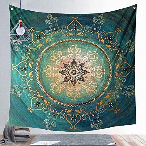 QAWD Mandala, Tapiz de brujería, Hippie Bohemio, Colgante de Pared, Escena psicodélica, Tela de Fondo, Manta, Tela Colgante A3 100x150cm