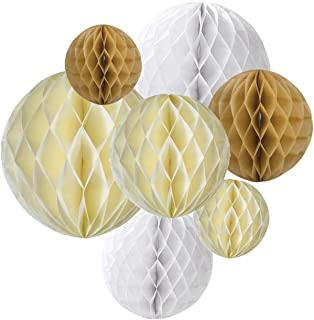 7PCS Assorted 6 Inch 8 Inch 10 Inch Cream Tan Brown White Hanging Party Decoration Paper Crafts Honeycomb Balls for Rustic Wedding Bridal Shower Neutral Baby Shower Gender Reveal Party Nursery Decoration