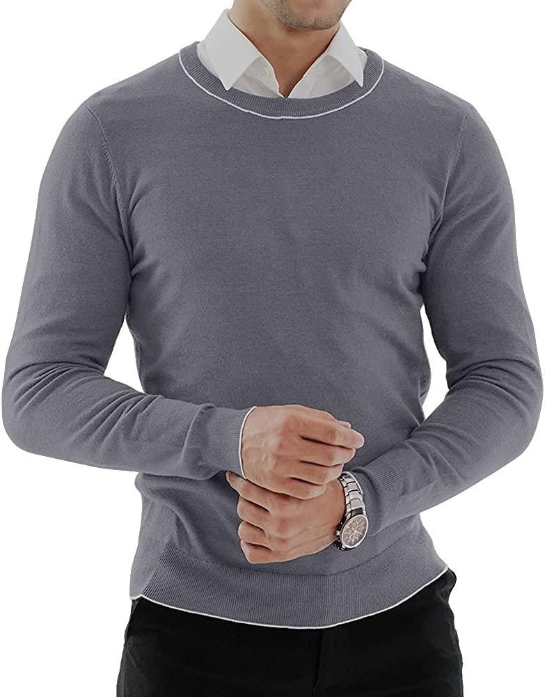 KUYIGO Men's Pullover Sweater Casual Slim Fit Basic Tops Knitted Novelty Sweaters