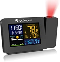 Dr. Prepare Projection Alarm Clock for Bedrooms with Indoor & Outdoor Temperature Display Dual Alarms Multi-Colored Backli...