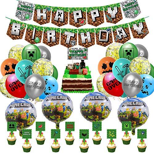 Pixel Style Gamer Birthday Party Supplies, Miner Gamer Thema Party Dekoration, Einschließlich Happy Birthday Banner Luftballons Kuchendeckel Goldene Bänder für Minecraft Theme