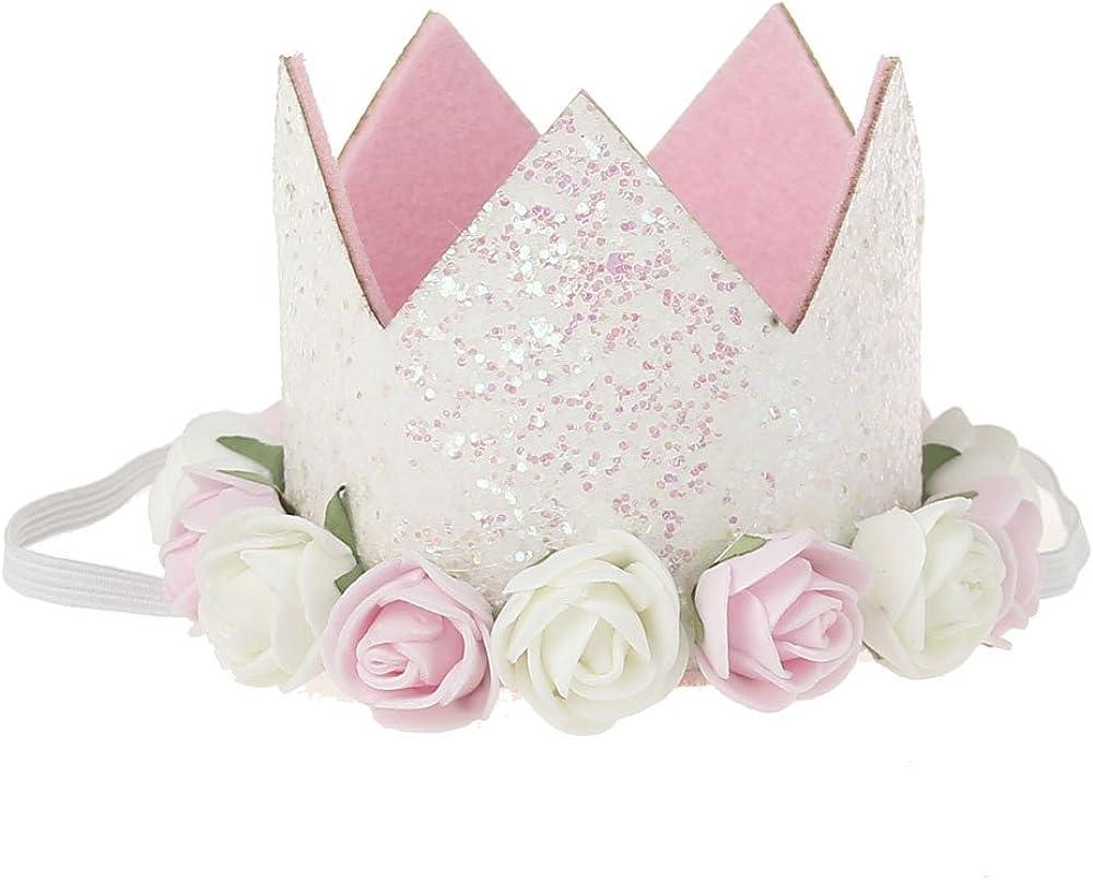 Birthday Crown Baby Girl Flower Tiara Headband Birthday Party Hairband
