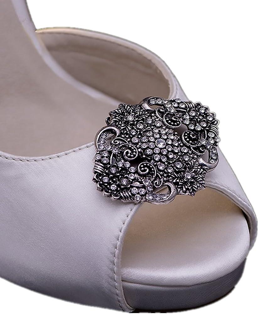 History of Victorian Boots & Shoes for Women Ruihfas Casualfashion 2 Pcs Decorative Vingate Retro Shoe Clips Rhinestone for Women Pumps Flats Shoes  AT vintagedancer.com