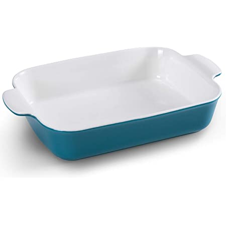 Rectangular Baking Dish Turkey Baking Pan, Jemirry Porcelain Bakeware for Oven Cooking, Kitchen, Cake, Banquet and Daily Use- Light Blue