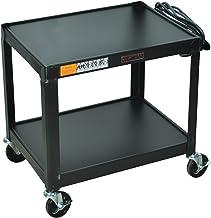 """Luxor Multipurpose W26E 2 Shelves Fixed Height Steel A/V Cart - 26"""" H, Black"""