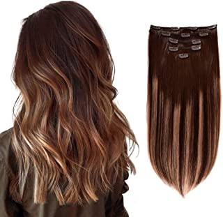 """5 Pieces 14"""" Remy Clip in Hair Extensions Human Hair Chocolate Brown to Honey Blonde Highlight Brown Ombre - Silky Straigh..."""