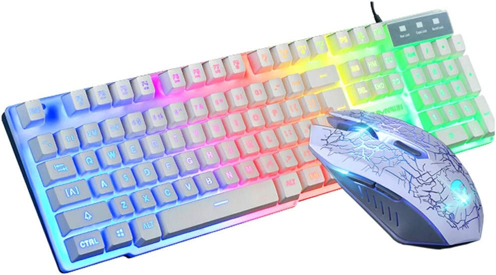 Colors Rainbow LED Backlit Keyboard and Mice Combo (White)