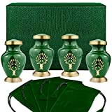 urn for spreading ashes - Tree of Life Small Keepsake Urns for Human Ashes - Set of 4 - Beautiful, Timeless, Classic - Find Comfort Everytime You Look at These Mini High Quality Cremation Urns - with Velvet Urn Case