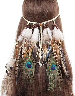 comprar comparacion TININNA Diadema para el pelo de Pavo real Pluma Venda indio Hippie Bohemia Banda para el cabello Tocado Tribal Accesorios ...