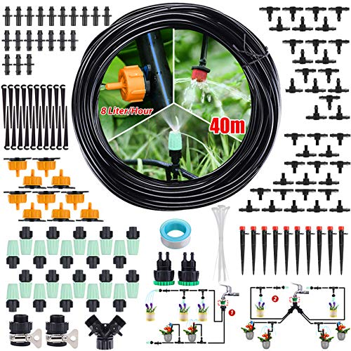 CAVEEN Sistema de Riego de Jardín 40M, Kit de Riego por Goteo Micro Riego Automático para Jardín/Invernadero/Césped/Maceta
