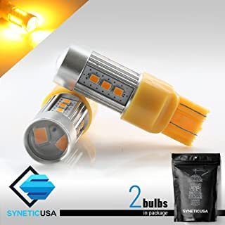 7443 LED Yellow/Amber Turn Signal/Parking/DRL High Power 2538 Chip Projector Lights Bulbs (Yellow)