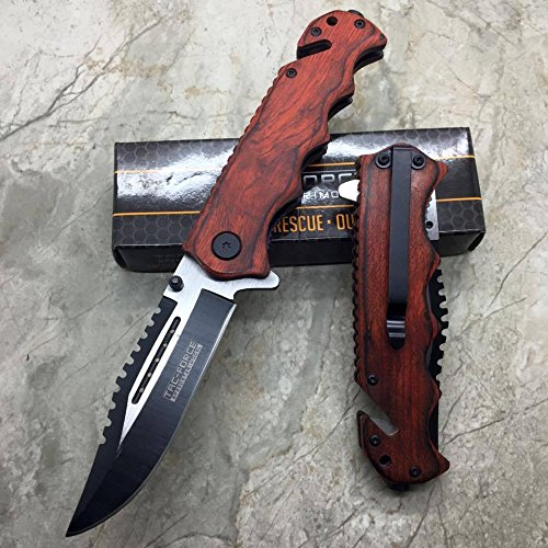 Tac Force G'Store Vintage Wooden Handle Pocket Hunting Tactical Hunting Handy Knife (Original)