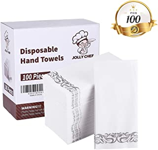 100 PACK Disposable Guest Towels, Soft and Absorbent Linen-Feel Paper Hand Towels, Durable Decorative Bathroom Hand Napkins Good for Kitchen, Parties, Weddings, Dinners or Events White and Sliver