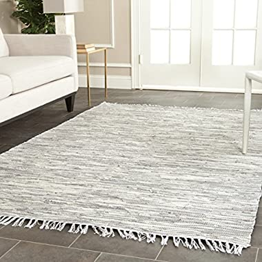 Safavieh Montauk Collection MTK753A Handmade Flatweave Silver Cotton Area Rug (6' x 9')