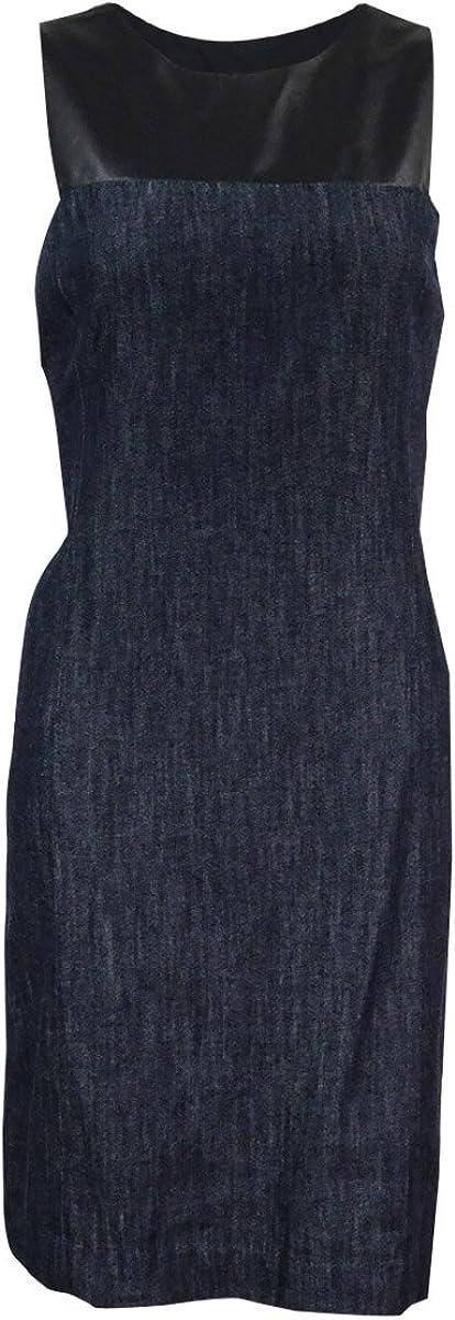Lauren Ralph Lauren Women's Faux-Leather-Trimmed Shift Dress