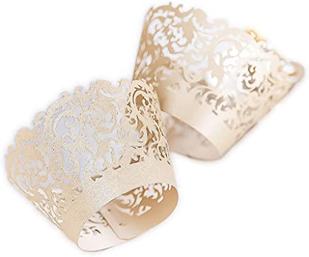 YOZATIA 60 Ivory Vine Lace Cupcake Wrapper, Laser Cut Cupcake Liners for Weddings Birthdays Tea Parties and Any Special Event- Ivory