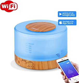 Smart Wifi Wireless 500ml Essential Oil Aromtherapy Ultrasonic Diffuser & Humidifier With Alexa And Google Home App And Voice Control - LED - Timer