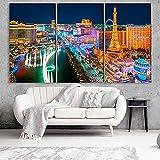 Gyybfhn Impresión HD Lienzo De Pintura Moderno HD Modular 3 Piezas Impreso Pintura Sala De Estar Decoración del Hogar Póster Cuadro Lienzo Regalo Creativo 50Cmx70Cmx3(Marco) Las Vegas City Bellagio
