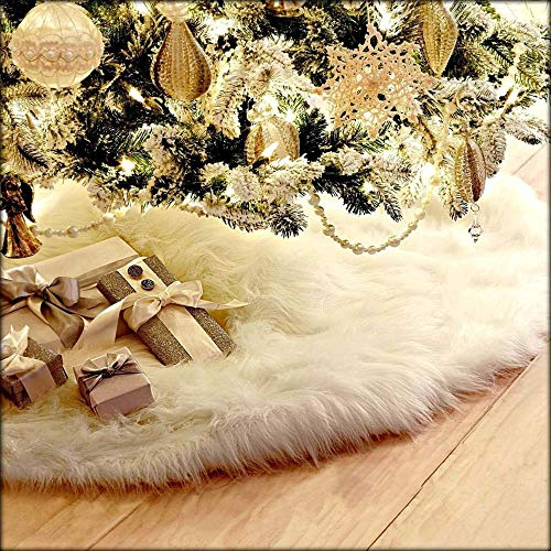 LAPOPNUT 31' Fluffy Furry Christmas Tree Skirt Xmas White Plush Floor Carpet Rug Decors Plush Skirt Base Cover Decoration Tree Skirt with Round Trim Xmas Decorations (31 inch)