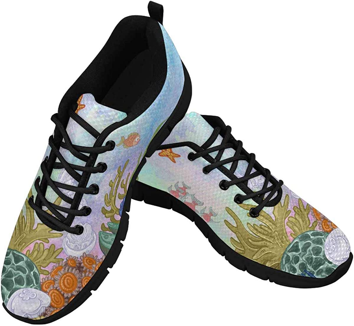 InterestPrint Underwater Background Women's Running Shoes Mesh Breathable Sports Casual Shoes