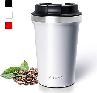 Yuanj - Taza térmica para llevar (350 ml, acero inoxidable, doble pared y aislamiento al vacío), color blanco