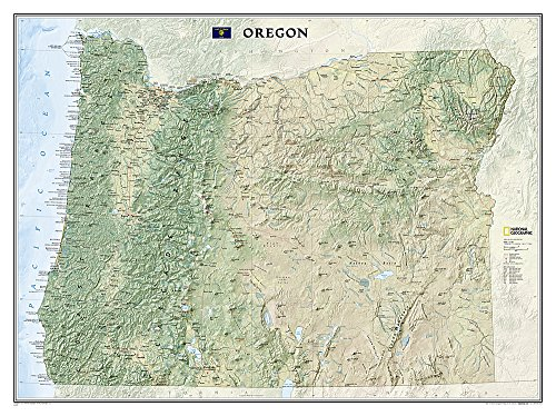 National Geographic: Oregon Wall Map (40.5 x 30.25 inches) (National Geographic Reference Map)