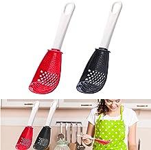 Multifunctionele kooklepel, Skimmer Scoop vergiet Zeef rasp Masher, Non-stick, niet-toxisch, hittebestendig, voor koken, a...